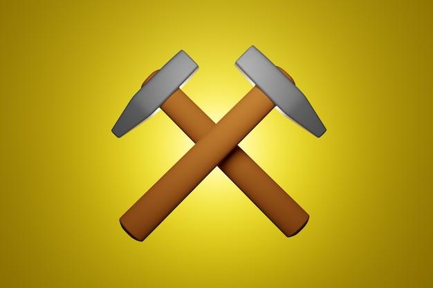 3d illustration zwei hämmer mit einem holzgriff auf gelb