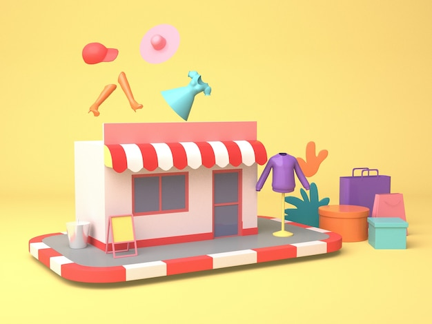3d-illustrationsdesign für online-marketing und shopping