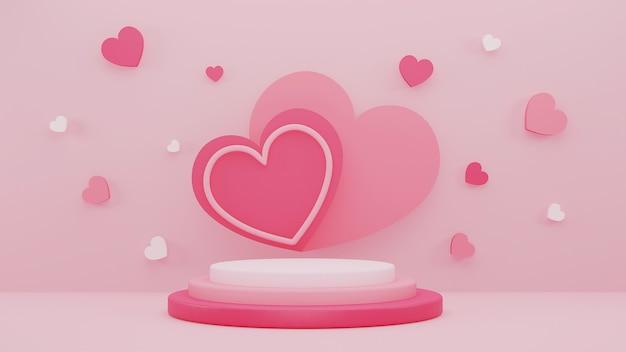 3d illustrationsentwurf mit rosa herzhintergrund mit anzeige stehen für valentinstag