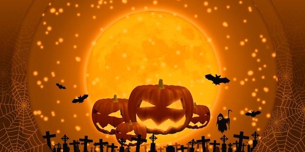 3d-illustrationsgeistfreigabeabend auf halloween glücklichem kürbis