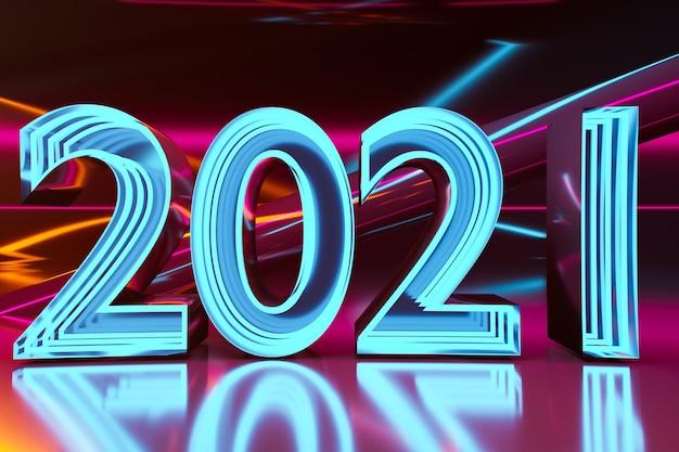 3d-illustrationsinschrift 2021 von rosa und blauen neonlinien
