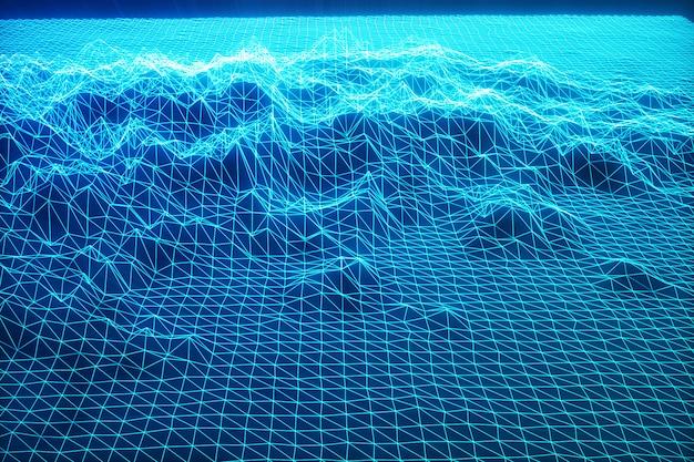3d-illustrationslandschaftshintergrund. cyberspace-landschaftsgitter. 3d-technologie. abstrakte blaue landschaft auf schwarzem hintergrund mit lichtstrahlen.