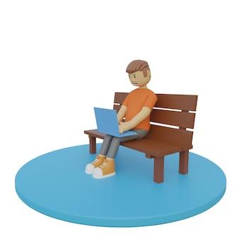 3d illustrationsmann, der mit dem halten des laptops und des weiß sitzt
