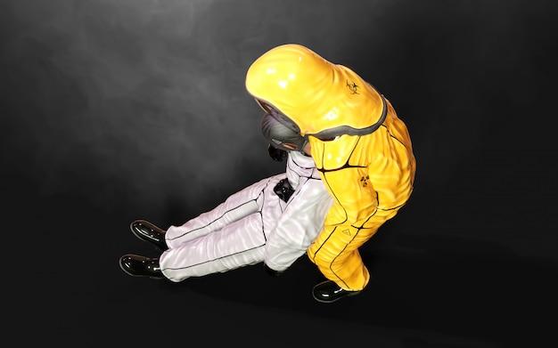 3d illustrationsmann, im virusschutz-biohazard-anzug, maske tragend, um koronavirus oder covid 19-ausbruch auf dunklem hintergrund mit beschneidungspfad zu stoppen.