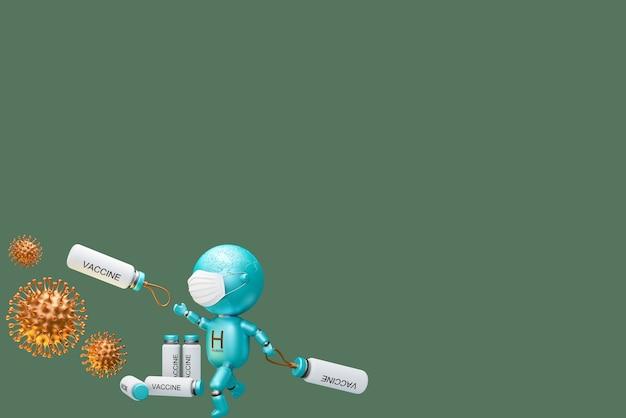 3d-illustrationsmenschen, die koronavirus kämpfen