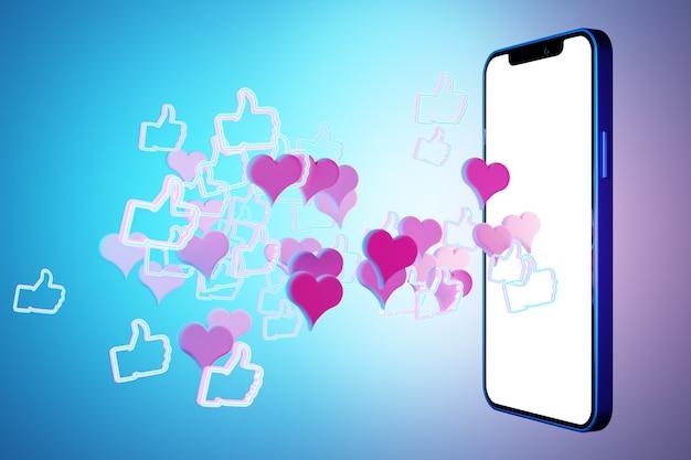 3d-illustrationsmodell eines modernen smartphones in einem weißen bildschirm mit rosa und roten herzen auf einem blauen isolierten hintergrund. illustration des dialogs, chat der liebenden.