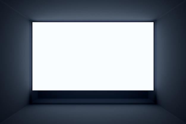 3d-illustrationsmodell eines weißen bildschirms im schwarzen raum