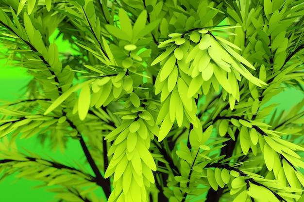3d-illustrationsnahaufnahme des realistischen grünen dekorativen baumes isoliert