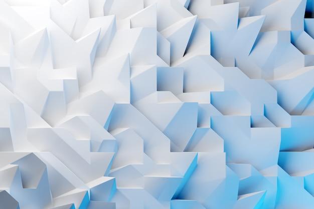 3d illustrationsreihen von blauen und weißen metallkristallen. patter auf einem monochromen hintergrund, muster. geometrischer hintergrund, webmuster.