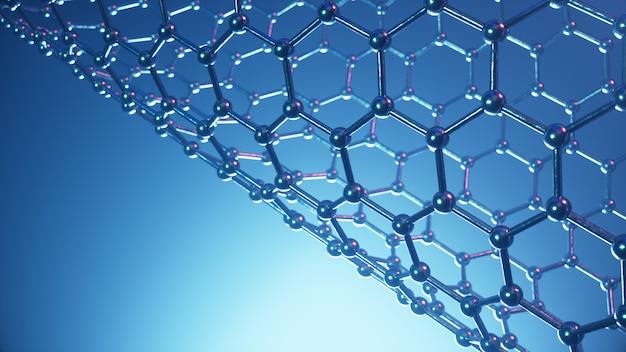 3d illustrationsstruktur der graphenröhre, abstrakte nanotechnologische hexagonale geometrische form nahaufnahme, konzept graphen atomstruktur, konzept graphen molekülstruktur. carbonrohr