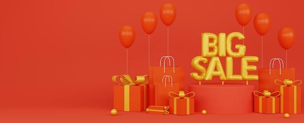 3d illustratoion des großen verkaufsförderungsfahnenplakats mit rotem hintergrund und goldenen luftballons