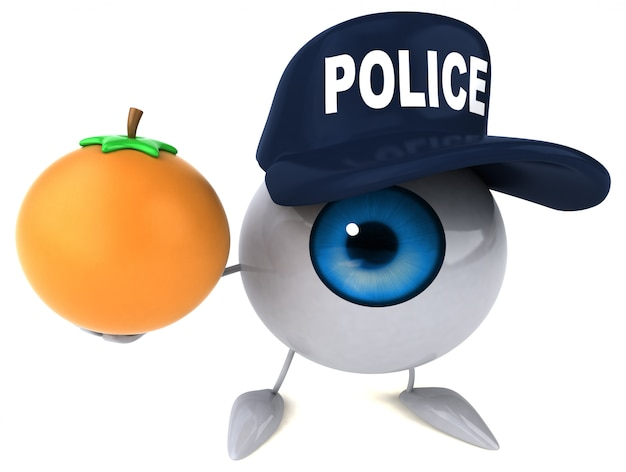 3d illustriertes auge, das einen polizeihut trägt und eine orange hält