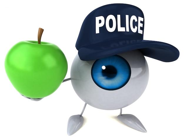 3d illustriertes auge, das einen polizeihut trägt und einen apfel hält