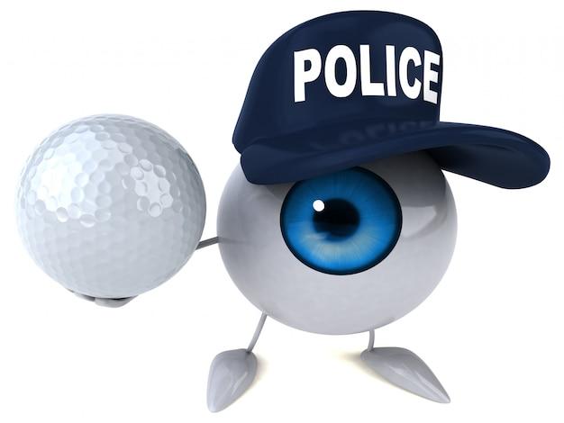 3d illustriertes auge, das einen polizeihut trägt und einen golfball hält