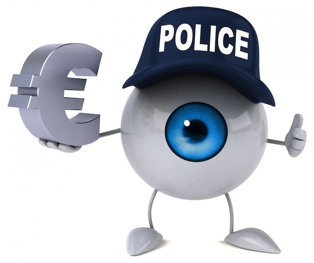3d illustriertes auge, das einen polizeihut trägt und eurozeichen hält