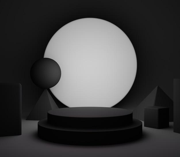 3d-illutration hintergrund abstraktes bühnenstudio einfach minimalistisch schwarz