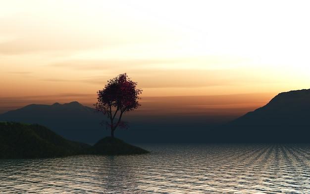 3d im ozean gegen einen sonnenuntergang himmel auf einem grasbewachsenen insel eines japanischen ahornbaum machen