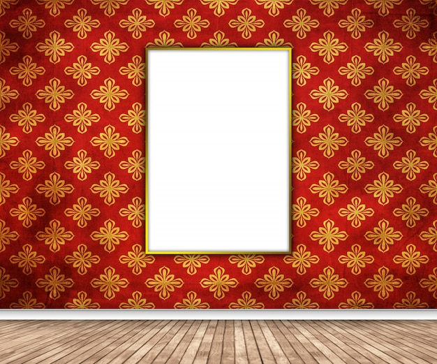 3d-innenraum mit leerem bild, das an damastwand hängt
