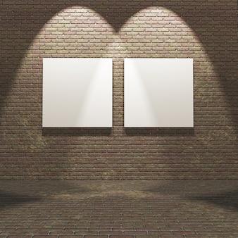 3d innenraum mit leeren leinwänden auf einer backsteinmauer