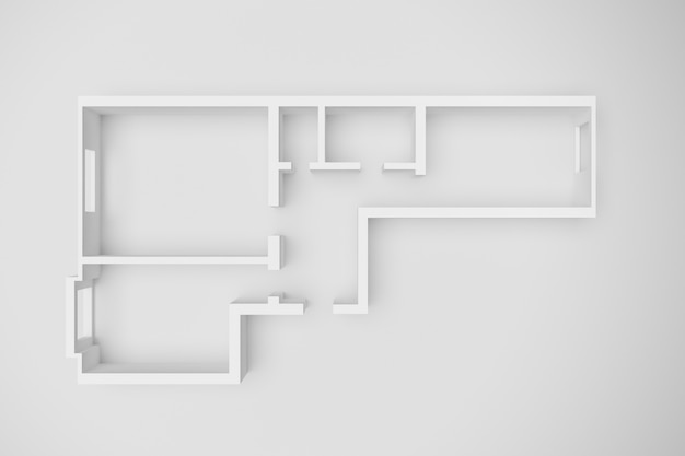 3d-innenwiedergabe eines leeren papiermodells eines mehrfamilienhauses mit zwei schlafzimmern auf einem weißen hintergrund