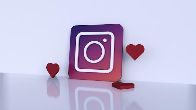3d instagram anwendungslogo. instagram social media plattform Premium Fotos