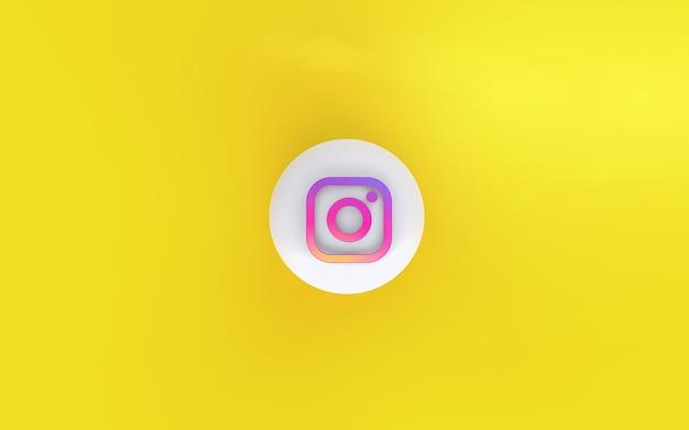 3d-instagram-anwendungslogo mit gelbem hintergrund