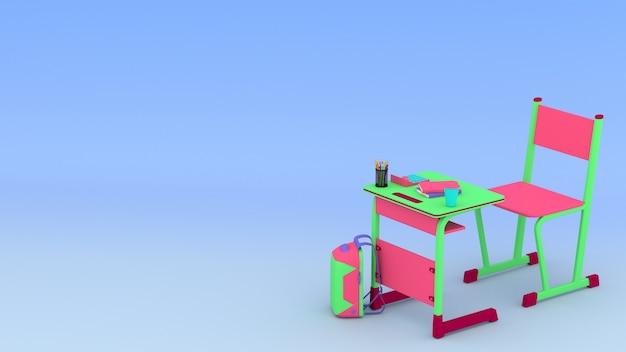 3d installierter tisch, stuhl, tasche, bleistifte, farbstifte und bücher mit cyan-raum