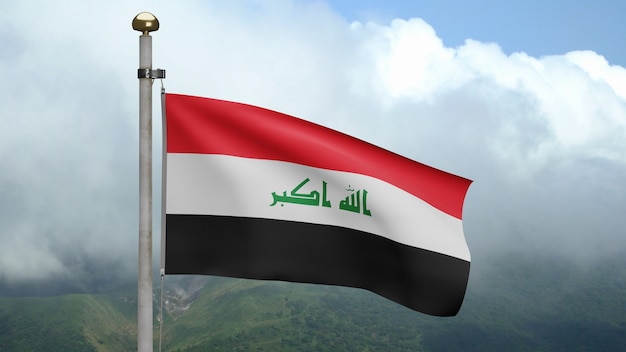 3d, irakische flagge weht im wind am berg. nahaufnahme von irak banner weht weiche seide. stoff textur fähnrich hintergrund. konzept für nationalfeiertage und länderanlässe.