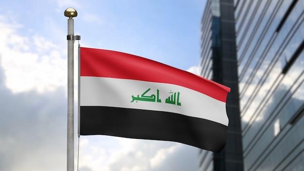 3d, irakische flagge weht im wind mit moderner wolkenkratzerstadt. irak-banner bläst glatte seide. stoff textur fähnrich hintergrund. verwenden sie es für das konzept für nationalfeiertage und länderanlässe.