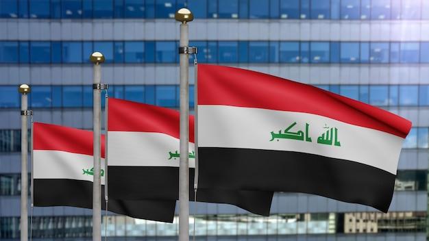 3d, irakische flagge weht im wind mit moderner wolkenkratzerstadt. irak-banner weht weiche seide. stoff textur fähnrich hintergrund. verwenden sie es für das konzept für nationalfeiertage und länderanlässe.