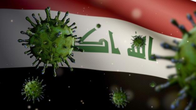 3d, irakische flagge weht mit coronavirus-ausbruch, der die atemwege als gefährliche grippe infiziert. influenza-virus vom typ covid 19 mit nationalem irak-banner, der im hintergrund weht. pandemie-risikokonzept