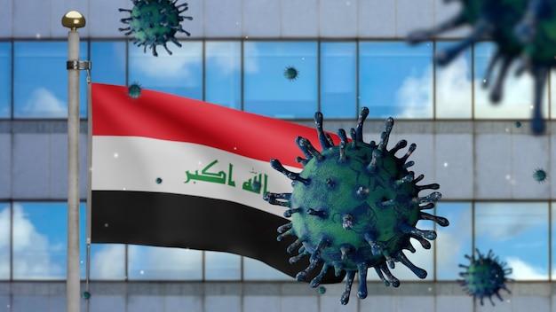 3d, irakische flagge weht mit moderner wolkenkratzerstadt und coronavirus 2019 ncov-konzept. asiatischer ausbruch im irak, coronaviren influenza als gefährliche grippepandemie. mikroskop-virus covid19 hautnah.