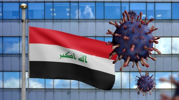3d, irakische flagge weht mit moderner wolkenkratzerstadt und coronavirus-ausbruch als gefährliche grippe. influenza-virus vom typ covid 19 mit nationalem irak-banner, der im hintergrund weht. pandemie-risikokonzept