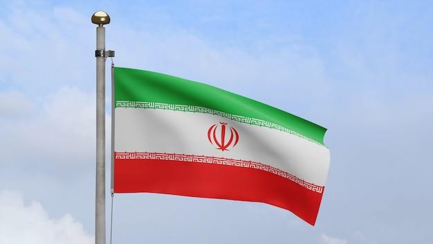 3d, iranische flagge weht im wind mit blauem himmel und wolken. iran banner weht, weiche und glatte seide. stoff textur fähnrich hintergrund. verwenden sie es für das konzept für nationalfeiertage und länderanlässe.