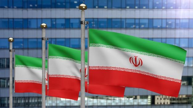 3d, iranische flagge weht im wind mit moderner wolkenkratzerstadt. iran-banner weht weiche seide. stoff textur fähnrich hintergrund. verwenden sie es für das konzept für nationalfeiertage und länderanlässe.