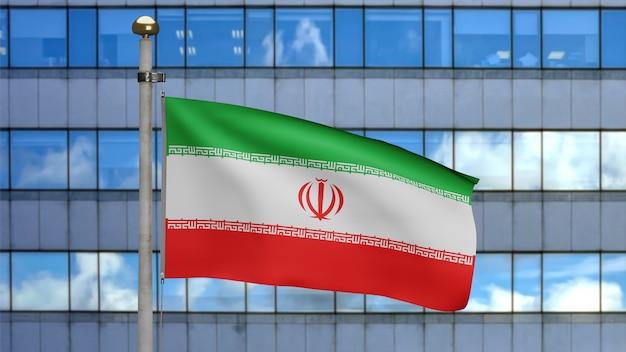 3d, iranische flagge weht im wind mit moderner wolkenkratzerstadt. nahaufnahme von iran banner weht, weiche und glatte seide. stoff textur fähnrich hintergrund
