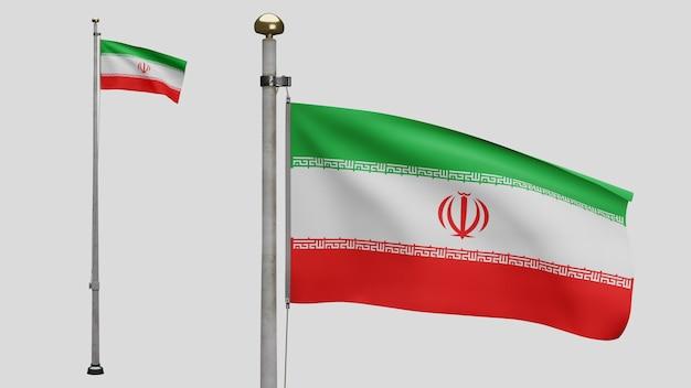 3d, iranische flagge weht im wind. nahaufnahme von iran banner weht, weiche und glatte seide. stoff textur fähnrich hintergrund. verwenden sie es für das konzept für nationalfeiertage und länderanlässe.