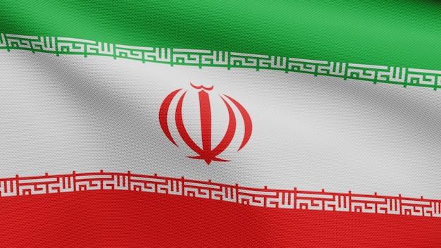 3d, iranische flagge weht im wind. nahaufnahme von iran banner weht, weiche und glatte seide. stoff textur fähnrich hintergrund