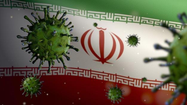 3d, iranische flagge weht mit coronavirus-ausbruch, der die atemwege als gefährliche grippe infiziert. influenza-virus vom typ covid 19 mit nationalem iran-banner, das im hintergrund weht. pandemie-risikokonzept