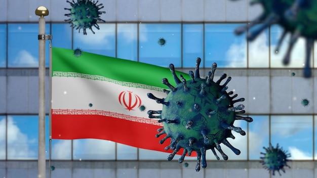 3d, iranische flagge weht mit moderner wolkenkratzerstadt und coronavirus 2019 ncov-konzept. asiatischer ausbruch im iran, coronaviren influenza als pandemie. mikroskop-virus covid19 hautnah.