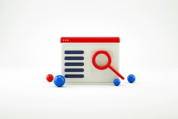 3d-kalender oder berichtssymbol mit lupe auf weißem, isoliertem hintergrund. rotes kalender- oder notizblocksymbol mit einer roten lupe. 3d-grafik