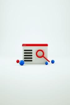 3d-kalender, zeitplaner oder zeitplansymbol mit einer roten lupe auf einem weißen, isolierten hintergrund. universelles 3d-symbol. 3d-grafik, nahaufnahme