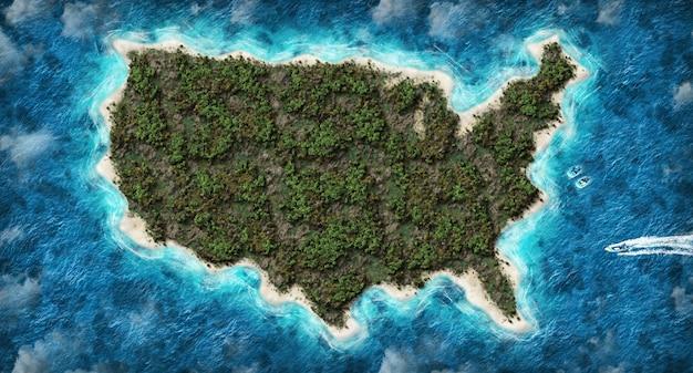 3d-karte der vereinigten staaten von amerika