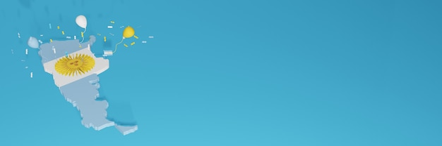 3d-karten-rendering der argentinischen flagge für soziale medien und cover-website