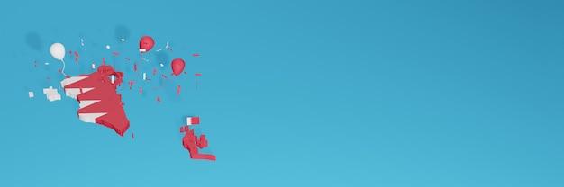 3d-karten-rendering der bahrain-flagge für social media und cover-website