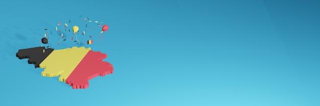 3d-karten-rendering der belgischen flagge für social media und cover-website