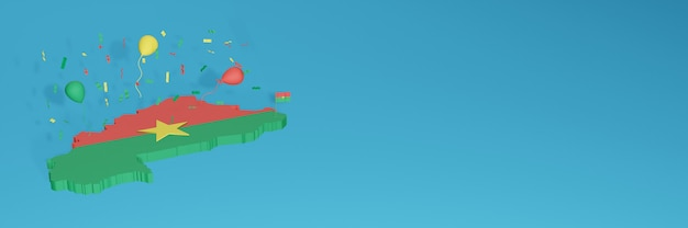 3d-karten-rendering der burkina faso-flagge für soziale medien und cover-website