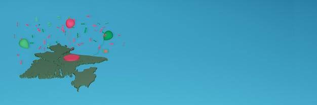 3d-karten-rendering der flagge von bangladesch für soziale medien und cover-website