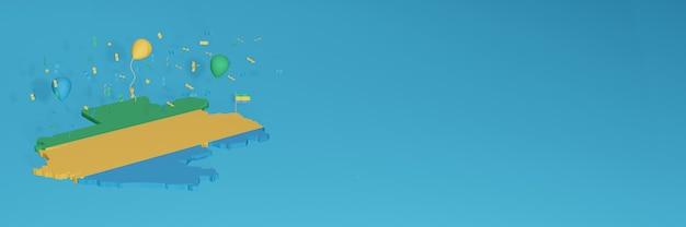 3d-karten-rendering der gabun-flagge für social media und cover-website