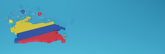 3d-karten-rendering der kolumbien-flagge für social media und cover-website